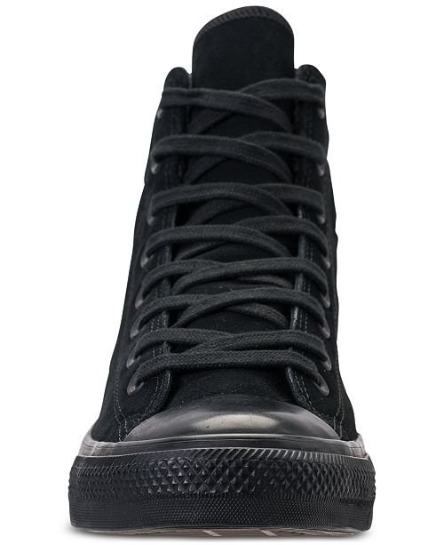 Converse Men's Chuck Taylor All Star High Top Casual Sneakers from Finish Line CONVERSE BLACK Sleek textile upper 5600281 [AXMQMYS] - $59.34