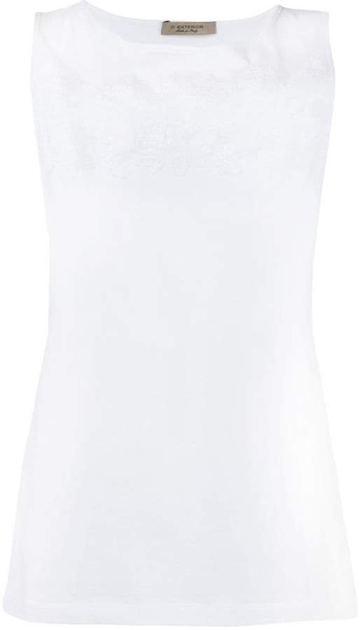 D.Exterior embroidered tank top