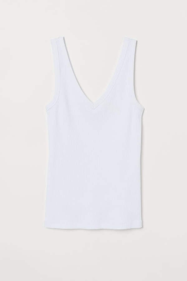 V-neck Cotton Tank Top - White