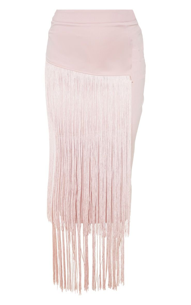 Pale Pink Fringe Detail Tiered Midaxi Skirt - New In Clothing - New In   PrettyLittleThing USA