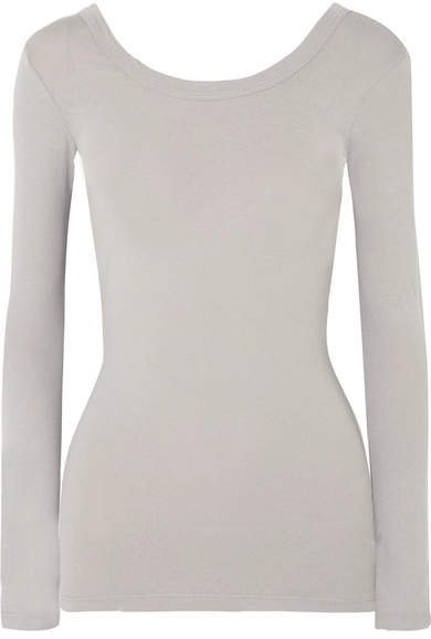 Skinny Ballet Stretch-cotton Jersey Top - Gray