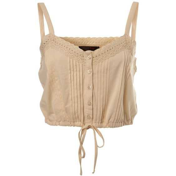 beige lacy button up tank top