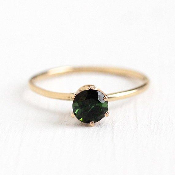 Green Tourmaline Ring Vintage 10k Rosy Yellow Gold Round Cut
