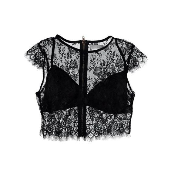 Black Lace Crop Sheer Top