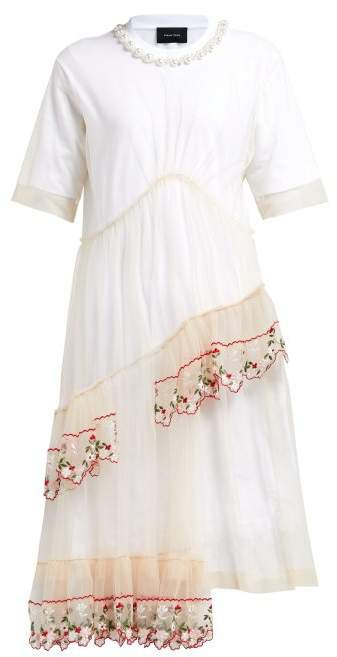Floral Embroidered Cotton And Tulle Midi Dress - Womens - White Multi