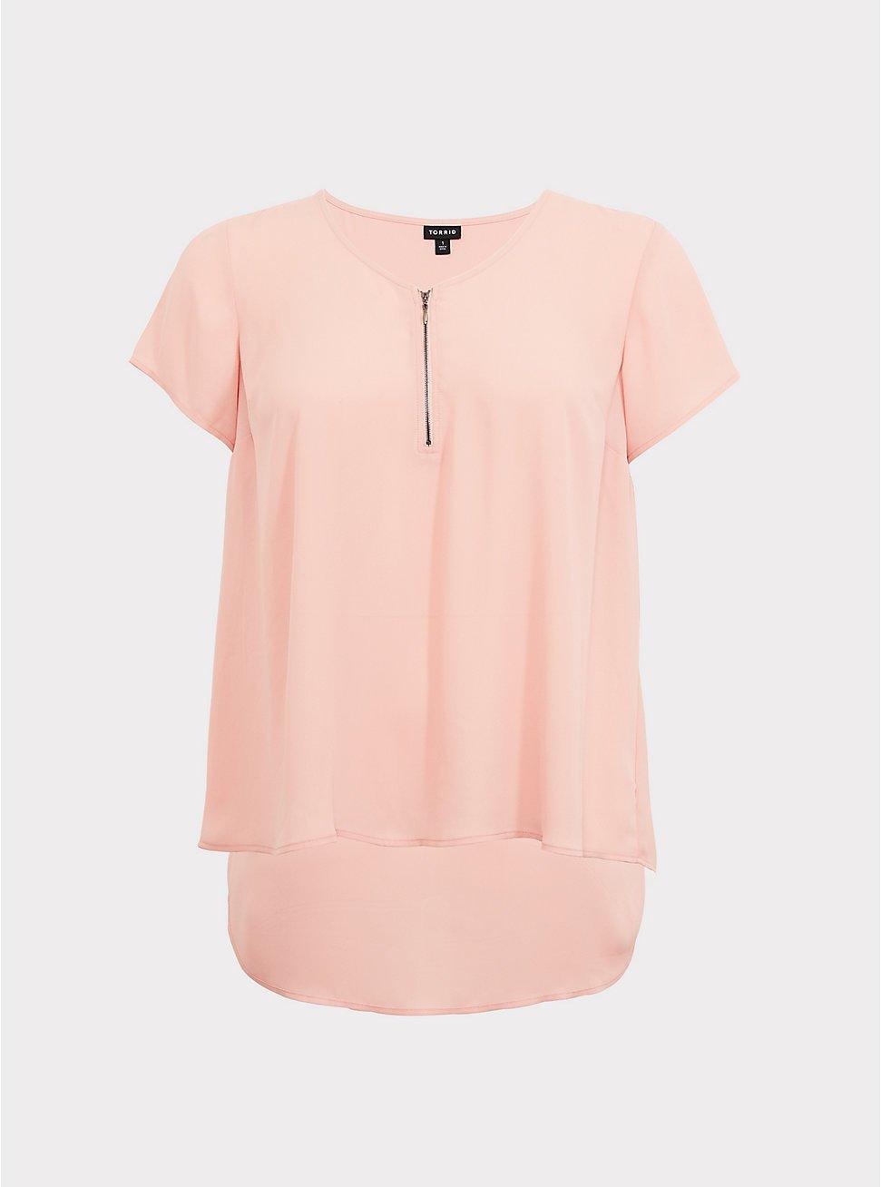 Blush Pink Zip Georgette Blouse | Torrid