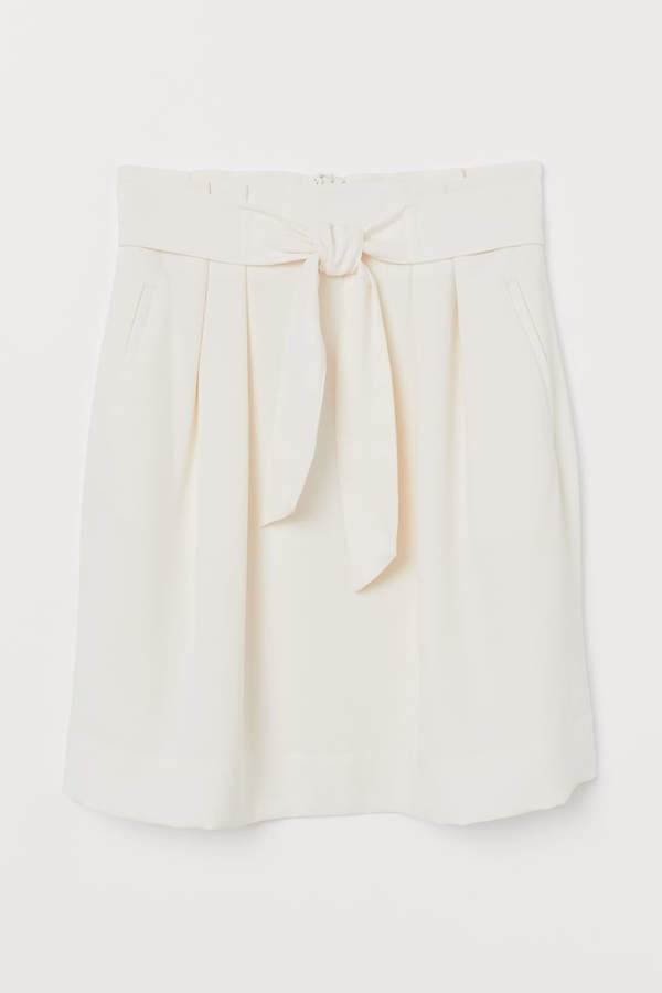 Skirt with Tie Belt - White