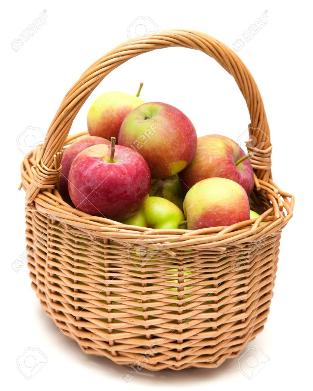 Wicker Basket Full Of Apples Isolated On White Stock Photo, Picture And Royalty Free Image. Image 21759245.