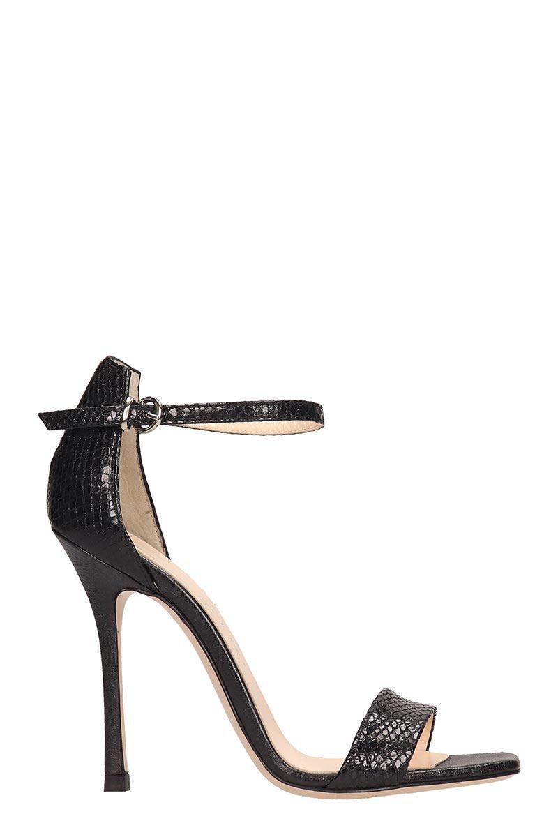 Marc Ellis Snake Print Black Leather Sandals