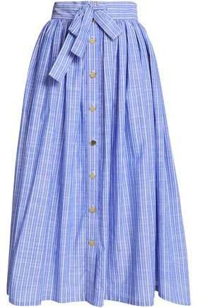 Tie-front Striped Cotton-poplin Midi Skirt