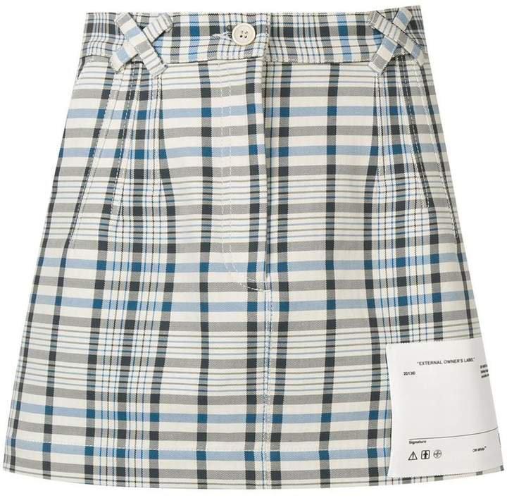 check print mini skirt
