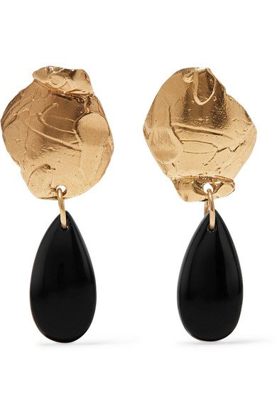 Alighieri | Shadow of a Woman gold-plated onyx earrings | NET-A-PORTER.COM