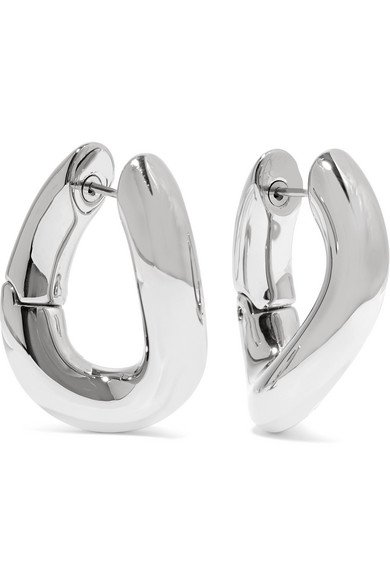 Balenciaga | Palladium-tone hoop earrings | NET-A-PORTER.COM