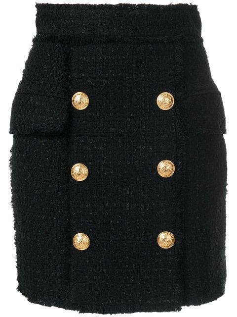 Balmain Tweed Embossed Button Skirt