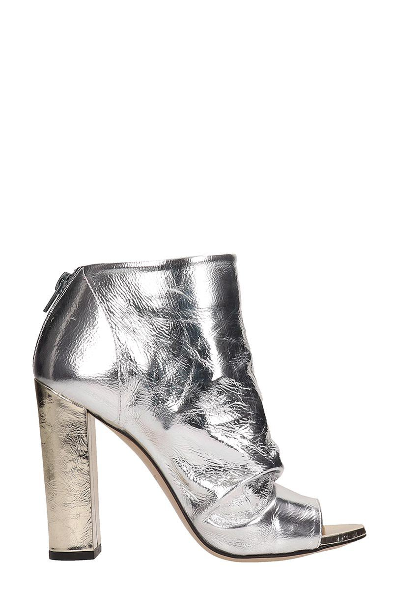 Marc Ellis Open Toe Silver Ankle Boots