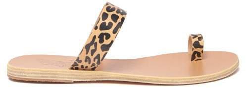 Thalia Cheetah Print Leather Sandals - Womens - Tan Multi