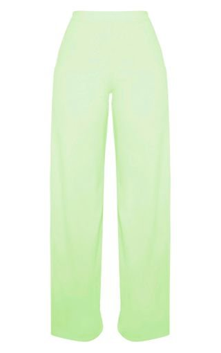 Apple Green High Waisted Wide Leg Trouser | PrettyLittleThing