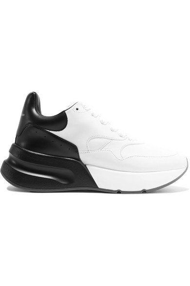 Alexander McQueen | Two-tone leather exaggerated-sole sneakers | NET-A-PORTER.COM