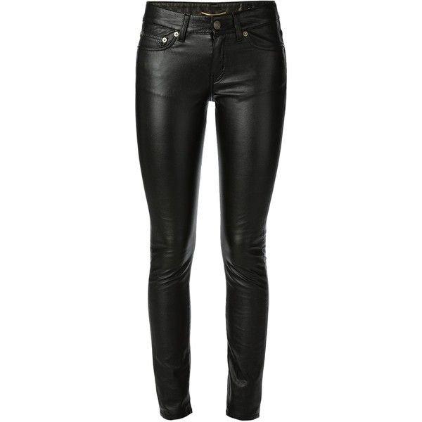 SAINT LAURENT Faux Leather Skinny Jeans