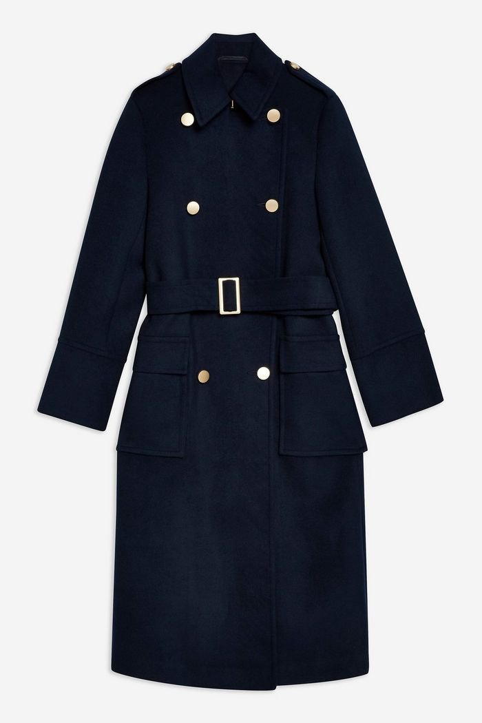 Navy Military Coat | Topshop