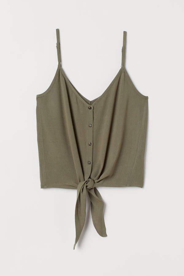 Tie-detail Camisole Top - Green