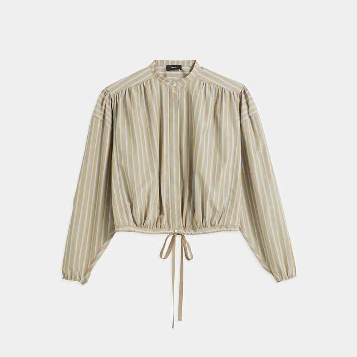 Ribbon Stripe Shirred Yoke Shirt