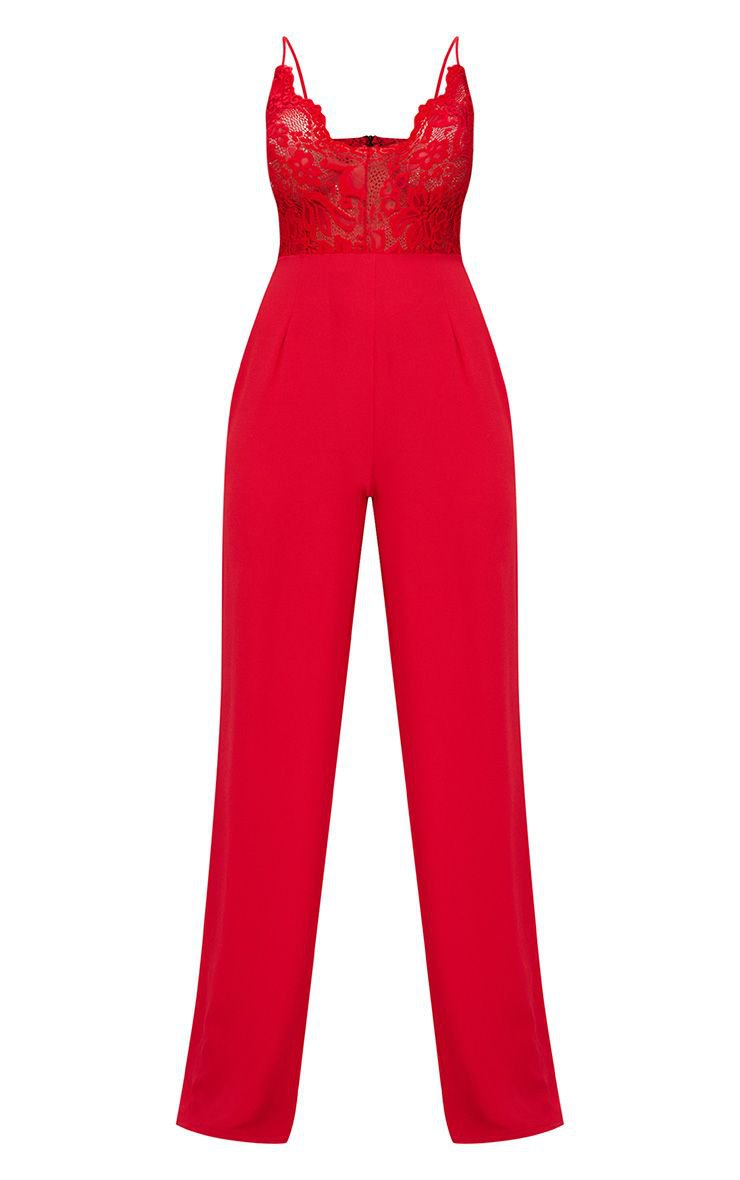 Red Lace Wide Leg Jumpsuit | PrettyLittleThing USA