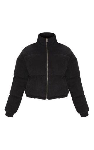 Petite Black Cord Puffer Jacket | Petite | PrettyLittleThing