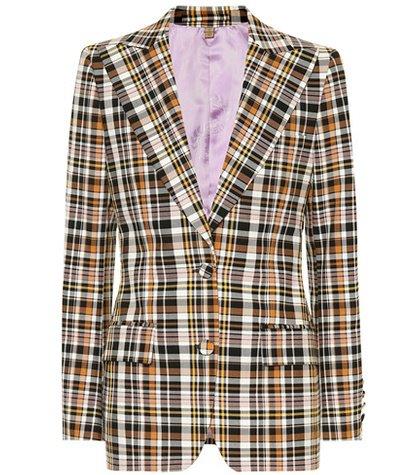 Checked cotton-blend blazer