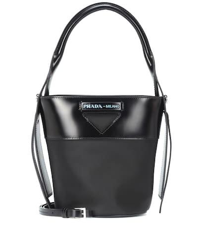 Leather-trimmed nylon bucket bag