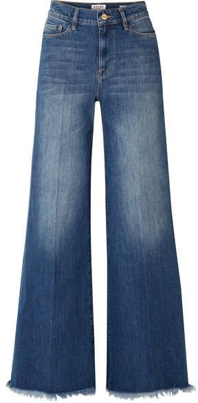 Le Palazzo Frayed High-rise Wide-leg Jeans - Dark denim