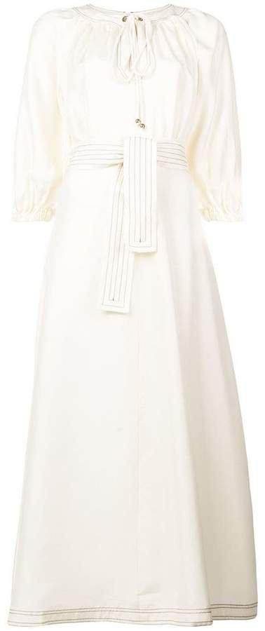 belted long dress