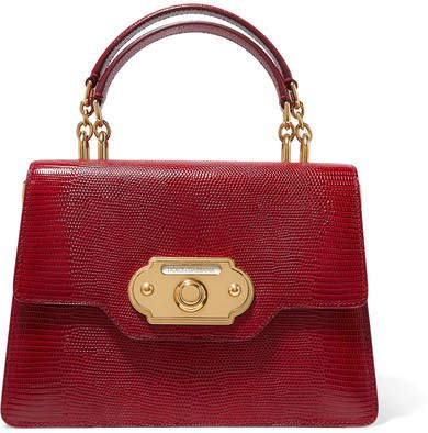 Welcome Medium Lizard-effect Leather Tote - Red