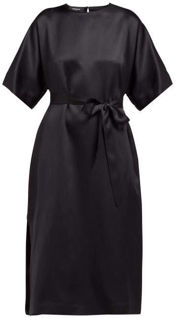 Osprey Silk Satin Midi Dress - Womens - Black