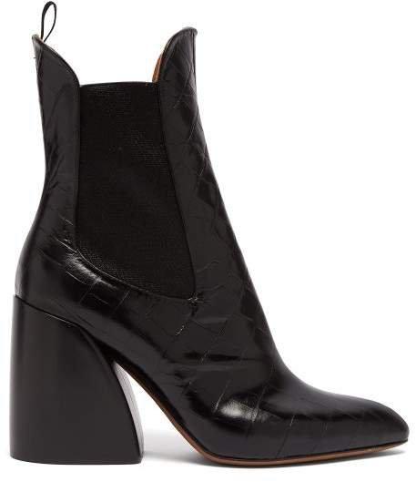 Crocodile Effect Leather Chelsea Boots - Womens - Black