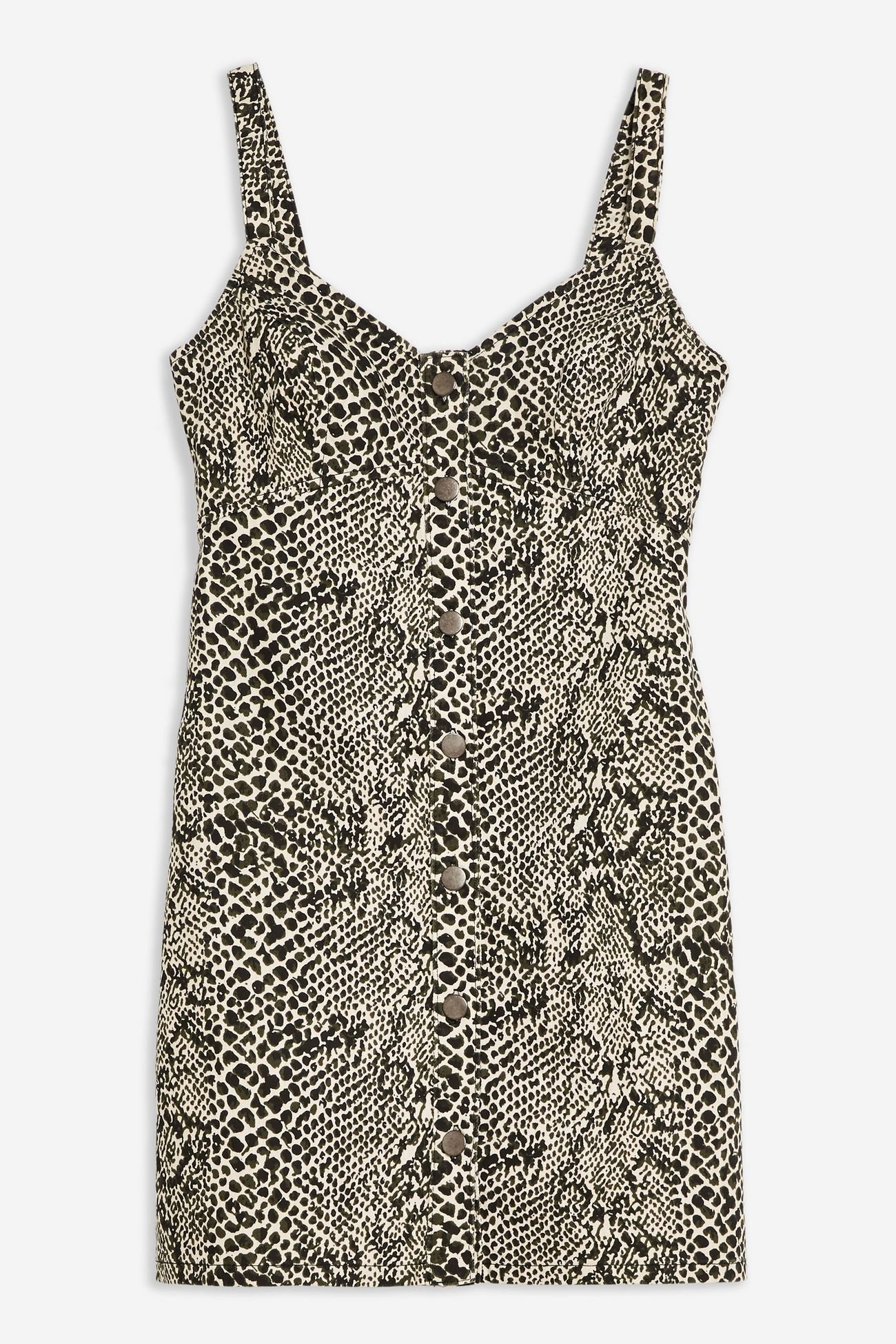 Snake Print Denim Bodycon Dress | Topshop