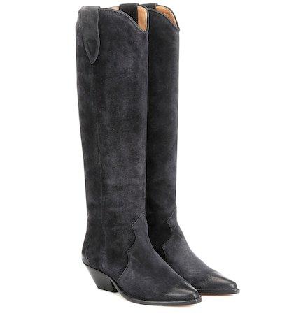 Denvee washed velvet boots