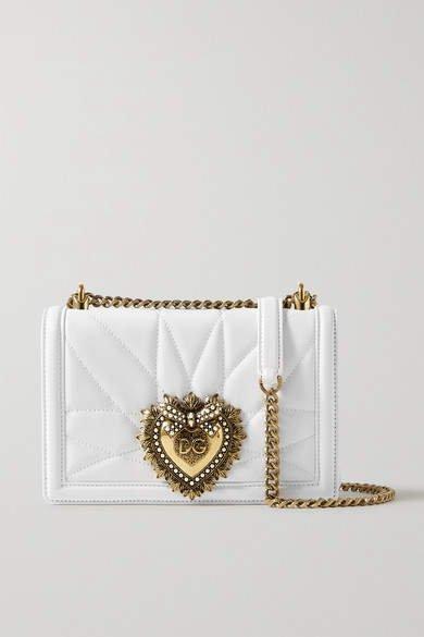 Devotion Mini Embellished Quilted Leather Shoulder Bag - White