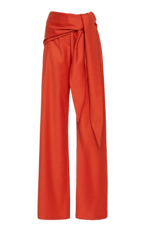 High Waisted Wool Pants With A Waist Tie