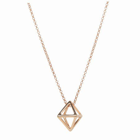 Martick Square Geometric Pendant Necklace Rose Gold - The Silver Pear