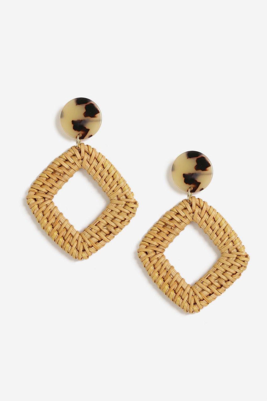 Tortoiseshell Topper Wicker Drop Earrings - Jewellery - Bags & Accessories - Topshop