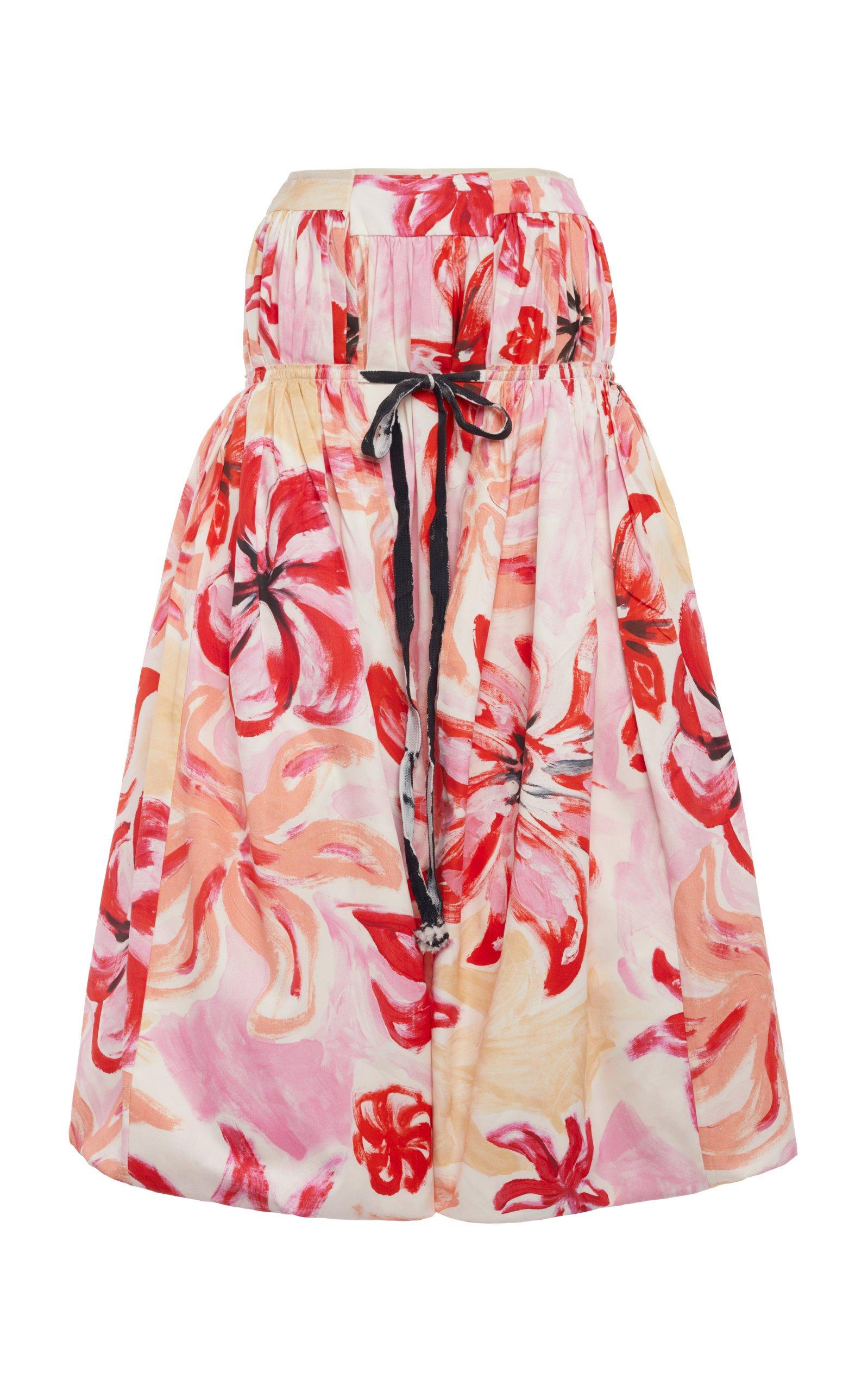 Marni Floral-Print Cotton-Silk Midi Skirt Size: 44