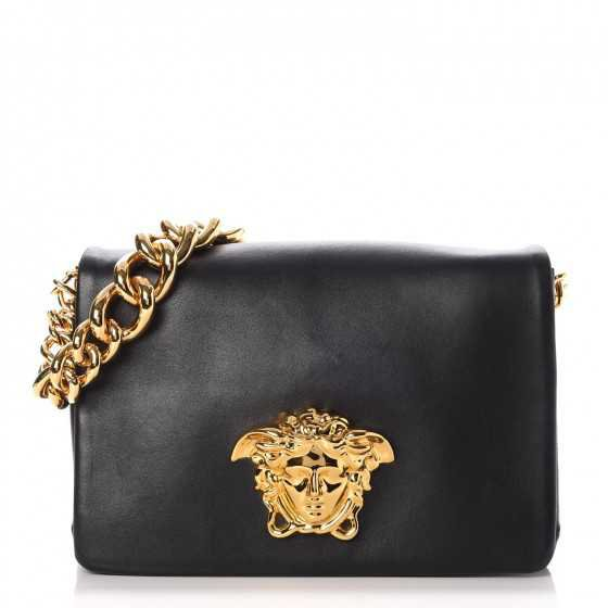 VERSACE Nappa Palazzo Sultan Shoulder Bag Black 265375
