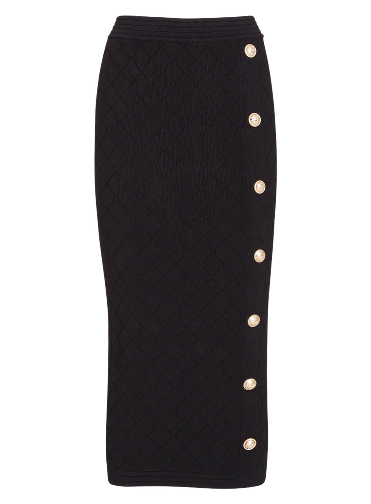 Balmain Long High-waisted Black Knit Skirt In Black