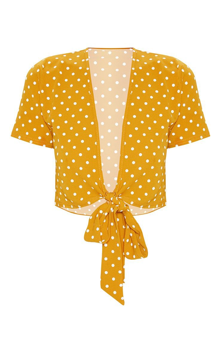 Mustard Polka Dot Chiffon Tie Front Front Blouse | PrettyLittleThing