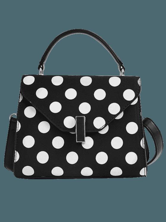 2018 Polka Dot Print Retro Flap Handbag With Strap In BLACK   ZAFUL