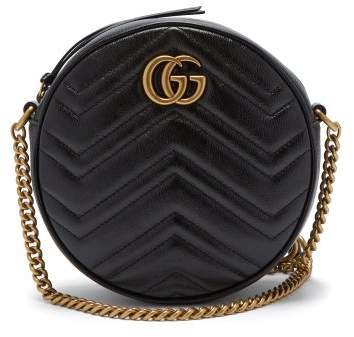 Gg Marmont Circular Leather Cross Body Bag - Womens - Black