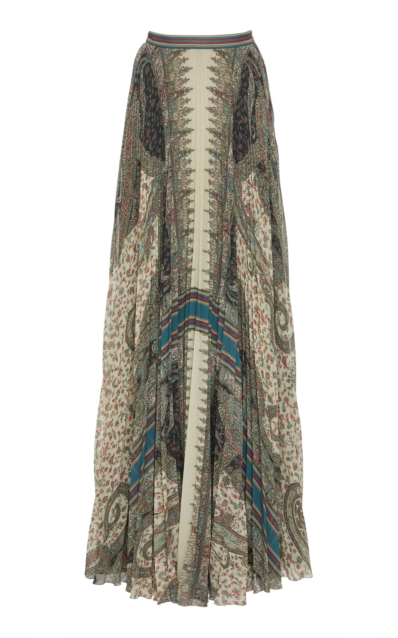 Etro Pleated Printed Crepe Skirt Size: 42