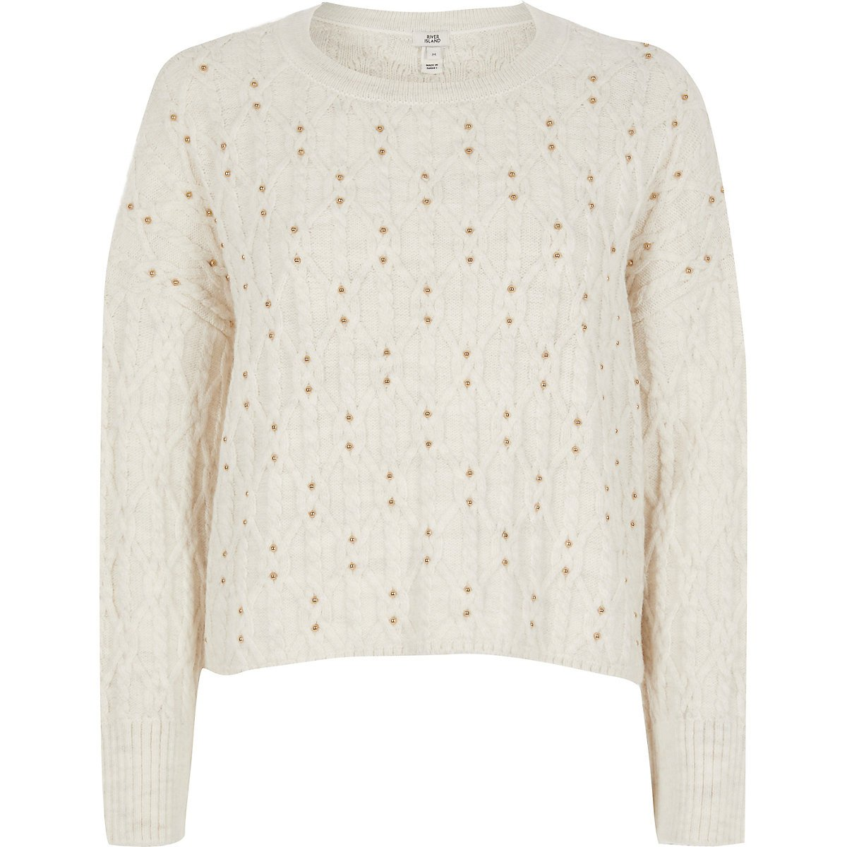 Cream studded cable knit jumper | River Island