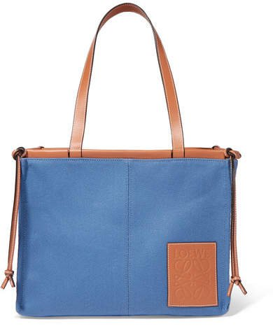 Cushion Large Leather-trimmed Canvas Tote - Blue